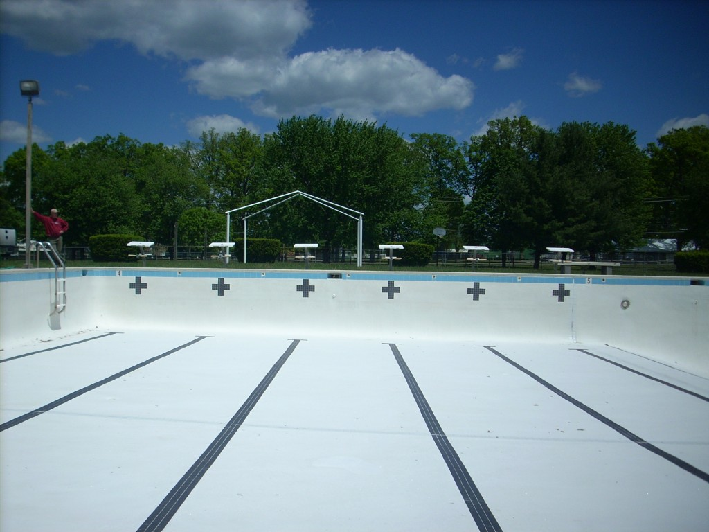 commercial swimming pool drained